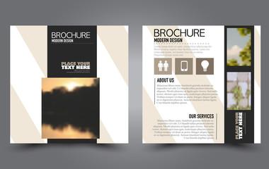 Square flyer template. Simple brochure design. Poster for business, education, advertisement, banner, ad banner. Black color. Vector illustration.