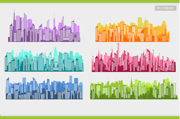 Collection of city landscapes on a light background.