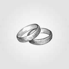 Hand Drawn Wedding rings Sketch Symbol isolated on white background. Vector of Wedding elements In Trendy Style.