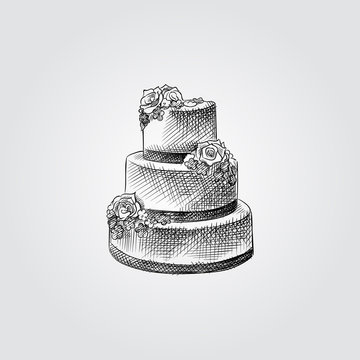 Hand Drawn wedding cake with floral decoration Sketch Symbol isolated on white background. Vector of Wedding elements In Trendy Style.