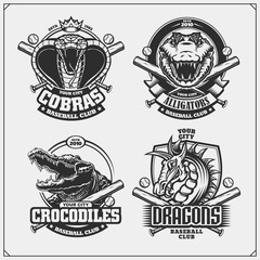 Baseball badges, labels and design elements. Sport club emblems with cobra, crocodile and dragon.