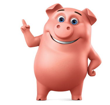 Pink piggy character points a finger up to an empty space. 3d rendering. Illustration for advertising.