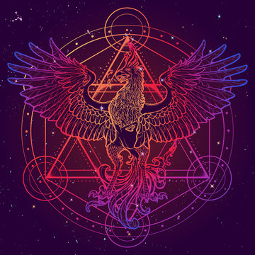 Mythycal bird Phoenix. David's star on a background. Alchemy symbol. Tattoo, textile, poster design. Sketch isolated on textured watercolor background. EPS10 vector.