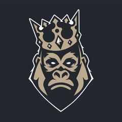 Gorilla in Crown Mascot Vector Icon