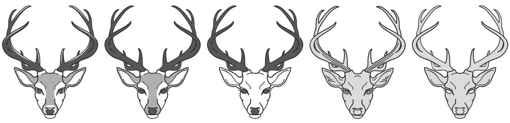 set stylized image of a deer head for your design, black and white, vector illustration