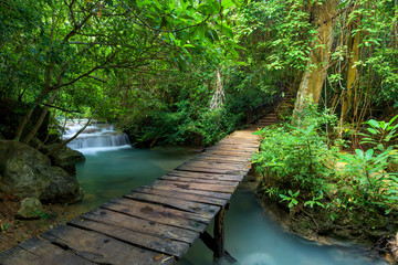 Wooden walkway and waterfall in forest