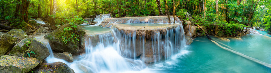 Poster Spring Panoramic beautiful deep forest waterfall in Thailand