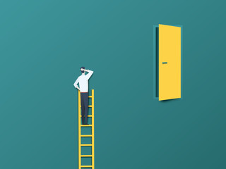 Business challenge vector concept with businessman on ladder far from door. Modern paper cutout vector style. Symbol of hard work, effort, ambition and motivation.