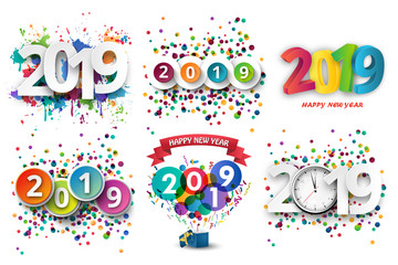 Happy new Year 2019 celebration with colorful spray paint and confetti template background. Vector paper illustration.
