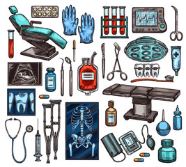 Medical equipment and surgery items, vector