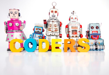 Wall Mural - The word CODERS  with retro robot toys