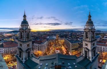 Budapest night panorama over St Stephen Christmas Market