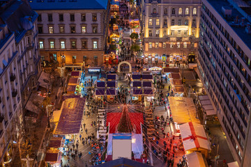 Christmas market in Budapest in Saint Stephen square aerial view