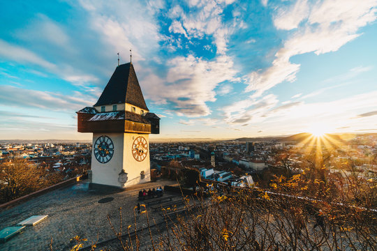 Graz city panorama at sunset from the top of Schlossberg hill