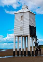 Burnham  on sea  light house  on beach
