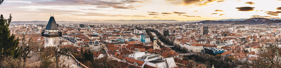 Graz panorama as seen from the Schlossberg park hill Wall mural