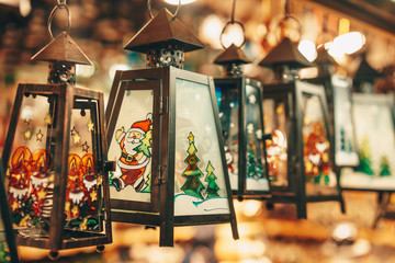 Handcrafted traditional  Christmas lanterns sold in Salzburg Christmas Market store