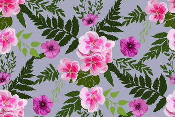 Floral seamless background pattern with different flowers and leaves. Botanical illustration  hand drawn. Textile print, fabric swatch, wrapping paper.
