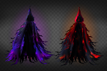 Vector realistic witch costume with hood, black ragged cape with red and purple glow for Halloween party isolated on transparent background. Scary dress for masquerade, magic tattered warlock clothes