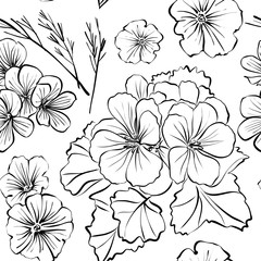 Floral seamless background pattern with different flowers and leaves. Botanical illustration  hand drawn. Textile print, fabric swatch, wrapping paper..