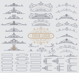 Kit of Vintage Elements for Invitations, Banners, Posters