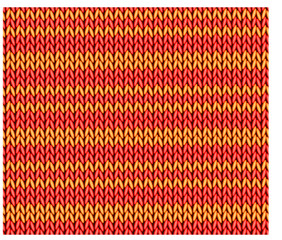 Seamless pattern knitting facial surface of red and yellow stripes. Vector