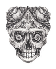 Art Sugar Skull Day of the dead. Hand drawing on paper.