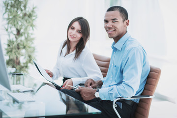 two successful employee in the workplace in the office