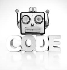 monochrome robots head with the word code