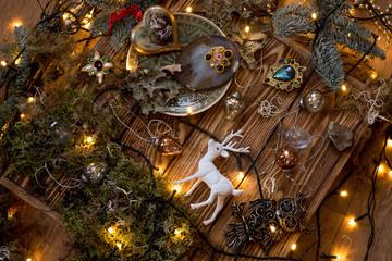 Magic Christmas decorations on  wood background
