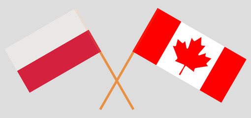 Poland and Canada. The Polish and Canadian flags. Official colors. Correct proportion. Vector