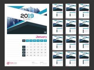 2019 yearly wall calendar design with space for your notes and images.