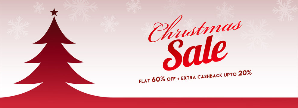 Website header or banner design with red xmas tree on snowflake background, flat 60% with extra 20% discount offer for Merry Christmas celebration.