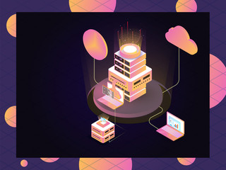 Web server connected to laptop with cloud server on abstract background for data management concept based isometric design.