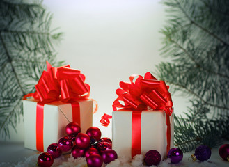 gift box .isolated on Christmas background. photo with copy space.