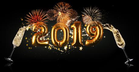 New Year 2019 celebration concept