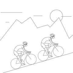 2 Cyclist Riding to Mountain. Climb Ride White Background