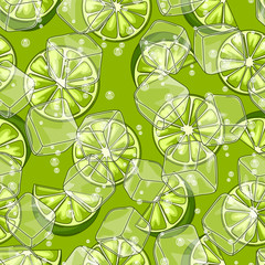 Seamless pattern with limes. Ice cubes and soda bubbles.