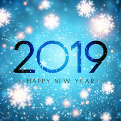 Blue 2019 Happy New Year card with blurred snowflakes.