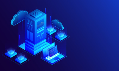 3D illustration of big data server connected with laptop and local servers on glossy blue background, Isometric design for Data Center concept.