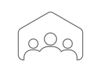 teamwork people in house icon