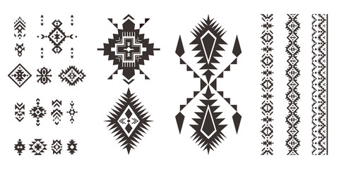Set of decorative Tribal elements isolated on white background.