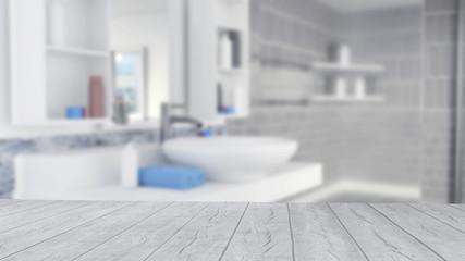 Bathroom Interior Design With Blue Towels and Empty Wooden Floor