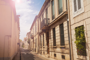 Street in old town Nimes, southern France