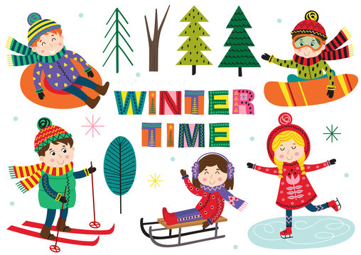 set of isolated winter time with kids part 1  - vector illustration, eps