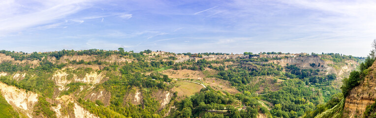 Panoramic view at the Lubriano town from Civita di Bagnoregio in Italy
