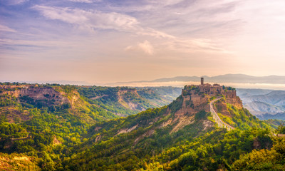 Morning view at the old town Civita di Bagnoregio in Italy