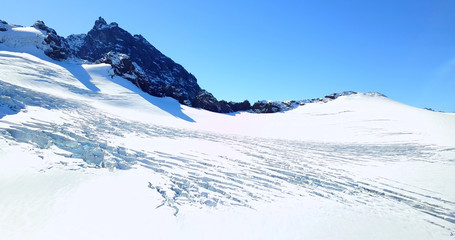 Panoramic View of Glaciers On Peak Of Mount Baker, Washington, USA