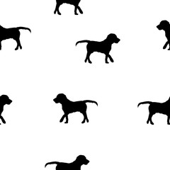 Seamless pattern dogs black silhouette on white, vector eps 10