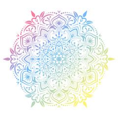 Hand drawn abstract mandala design. Vector holographic round pattern. Arabesque design element.